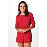 3/4 Sleeve Solid Colour Playsuit berry