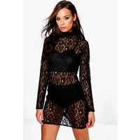 High Neck All Over Lace Bodycon Dress - black