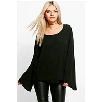 Lace Up Woven Long Sleeve Top - black