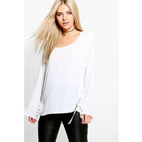 Lace Up Woven Long Sleeve Top - cream