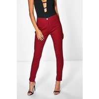 High Rise Tube Jeans - berry