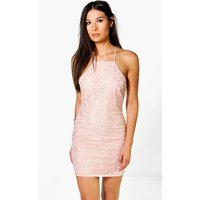 All Over Lace Cross Back Bodycon Dress - blush