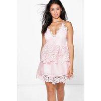 Grace Crochet Strappy Peplum Dress - pink