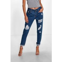 Mid Rise Ripped Mom Jeans - mid blue