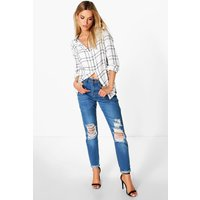 High Waisted Knee Rip Mom Jeans - mid blue