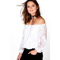 All Over Lace Bardot Top - white