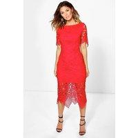 Emm Crochet Open Back Midi Dress - red