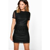 Cait Crochet Lace Peplum Shift Dress - black
