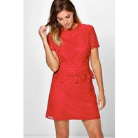 Cait Crochet Lace Peplum Shift Dress - red