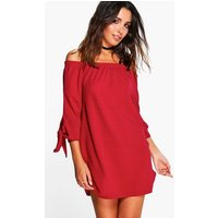 Off The Shoulder Tie Sleeve Shift Dress - berry
