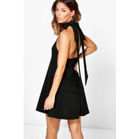 Open Back Detail Shift Dress - black