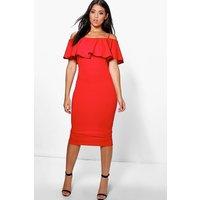 Strappy Off Shoulder Midi Bodycon Dress - red