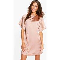 Satin Cap Sleeve Shift Dress - bronze