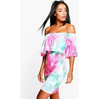 Off Shoulder Tropical Bodycon Dress - white