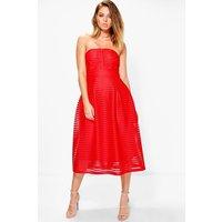 Panelled Midi Full Skirt Skater Dress - red