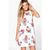 Floral High Neck Swing Dress - white
