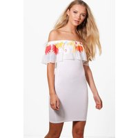 Embroidered Mesh Frill Bodycon Dress white
