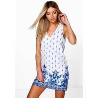 V Neck Border Print Shift Dress - blue