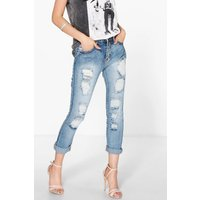 Slim Fit Distressed Boyfriend Jeans - mid blue