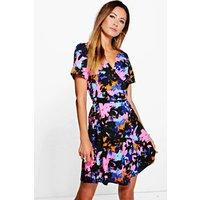 Woven Wrap Front Floral Print Dress - multi