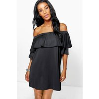 Off The Shoulder Ruffle Dress - black