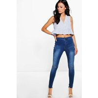 High Rise Jeans With Knee Rips - mid blue