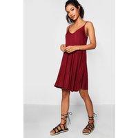Basic V Neck Swing Dress - berry