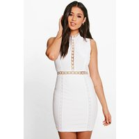 Ria Crochet Lace Panelled Bodycon Dress - white