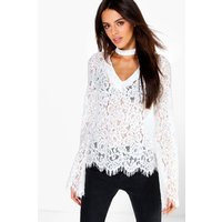 Choker Detail All Over Lace Blouse - white