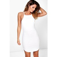 High Neck Curved Hem Bodycon Dress - white