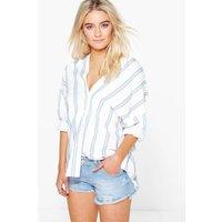 Striped Button Through Collarless Shirt - blue