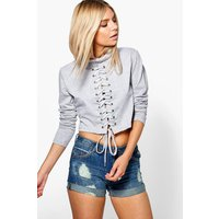 High Neck Lace Up Detail Sweat Top - grey