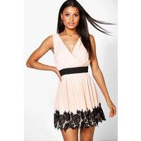 Chiffon Wrap Crochet Hem Skater Dress - peach