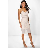 All Over Lace Panelled Midi Dress - nude