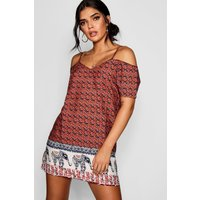 Multi Elephant Print Open Shoulder Shift Dress - multi