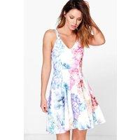 Floral Print Strappy Skater Dress - multi