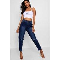 High Waist Slim Fit Mom Jeans - mid blue
