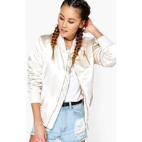 Zip Detail MA1 Satin Bomber - nude
