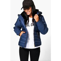 Quilted Zip Detail Jacket - navy