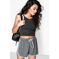 Contrast Trim Jersey Runner Shorts - charcoal