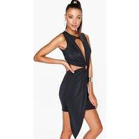 Cut Out Ring Mini Dress - black