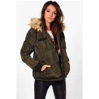 Short Faux Fur Collar Quilted Jacket - khaki
