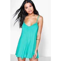 Bright Strappy Swing Playsuit - bright green
