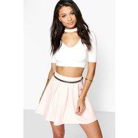 Basic Scuba Box Pleat Skater Skirt - nude