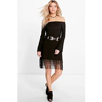 Off The Shoulder Fringe Dress - black