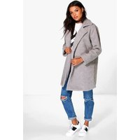Louisa Teddy Fur Chuck On Coat - grey
