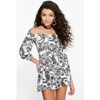 Paisley Off The Shoulder Playsuit - ivory