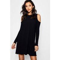 Cold Shoulder Soft Knit Rib Swing Dress - black