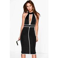 High Neck Contrast Piping Midi Dress - black