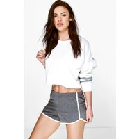 Contrast Trim Runner Shorts - charcoal